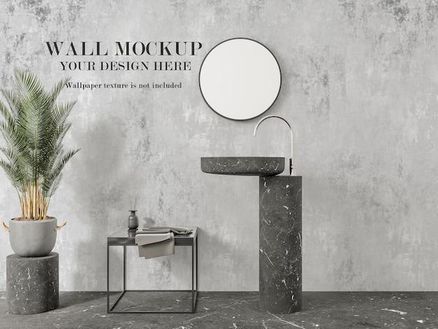 Modern bathroom wall mockup for your design