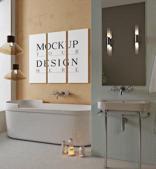 モックアップデザインポスター付きのモダンなバスルーム