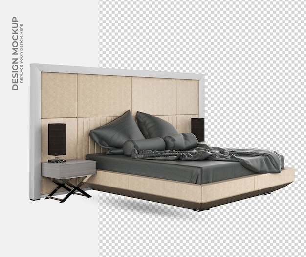 Modern bed decoration in rendering mockup