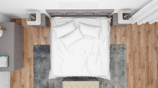 Camera da letto moderna o camera d'albergo con letto matrimoniale e mobili eleganti, vista dall'alto