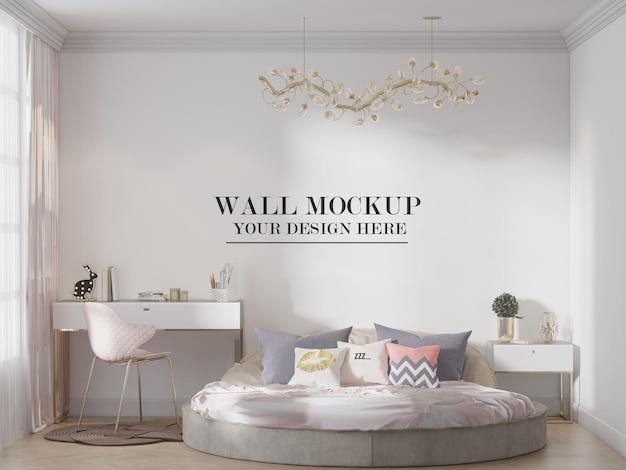 둥근 침대 뒤에 현대 침실 모형 벽