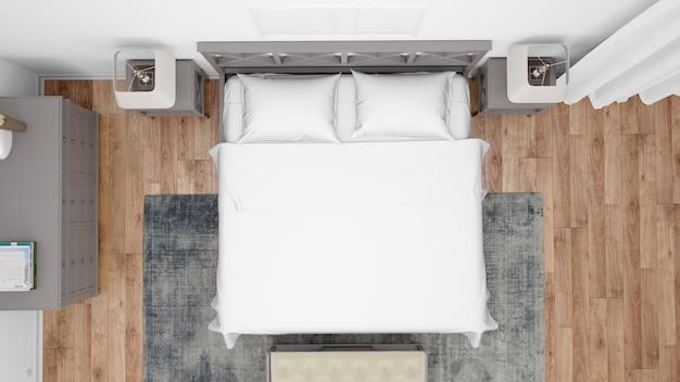 Современная спальня или гостиничный номер с двуспальной кроватью и элегантной мебелью, вид сверху