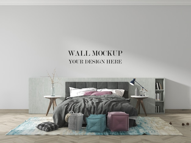 Modern bedroom wall mockup with bed and blanket
