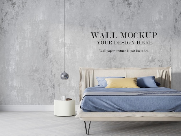 Modern bedroom wall mockup with bed