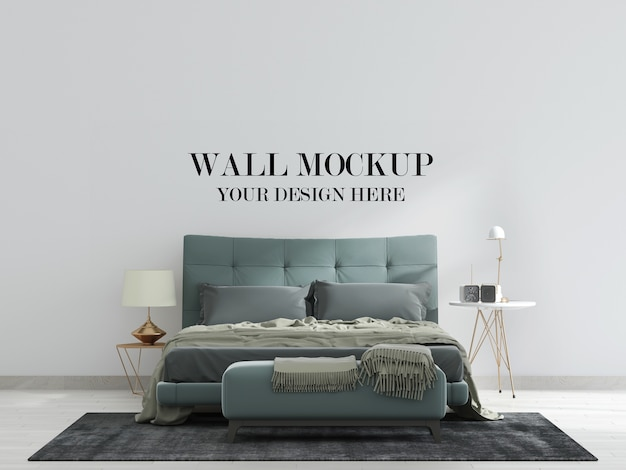 Modern bedroom wall mockup with green bed