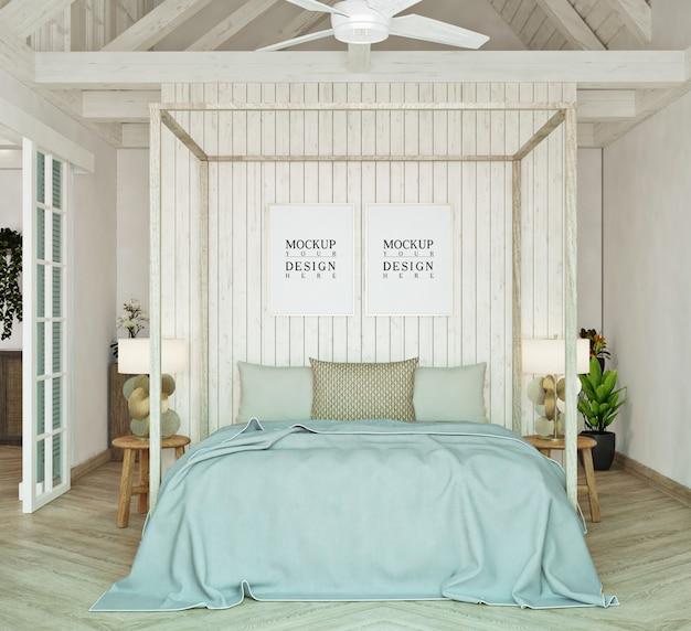 モックアップポスターとモダンなベッドルーム