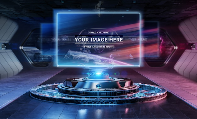 Modern billboard projector in futuristic interior mockup