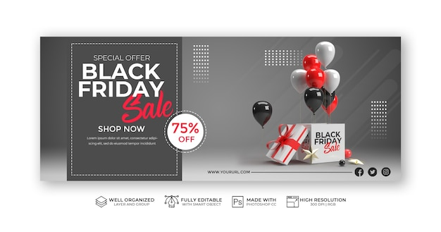 Modern black friday sale banner template