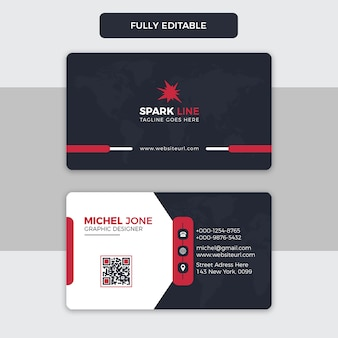 Modern black and red business card template