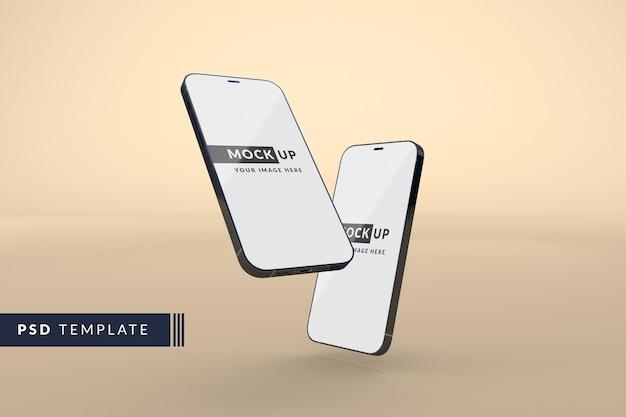 現代の黒いスマートフォンのモックアップ