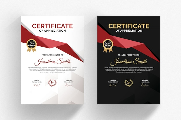 Modern black and white certificate template