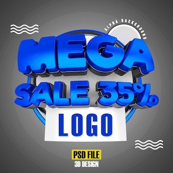 Modern blue 3d mega sale banner promotion 35 template