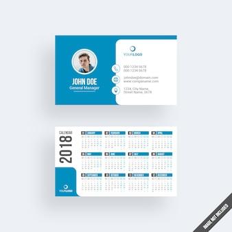 Modern blue business card mockup with calendar