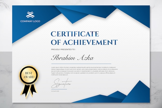 Modern blue and gold certificate of achievement template