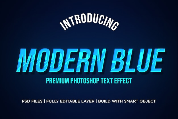 Modern blue text style effect photoshop psd