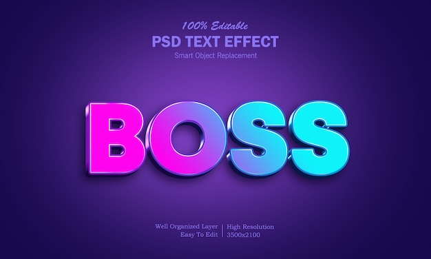 Modern boss psd text effect
