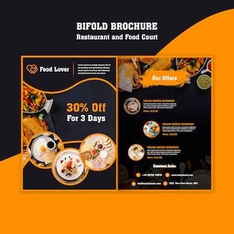 Современный шаблон брошюры для ресторана для завтрака Бесплатные Psd
