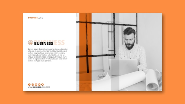Modern business banner template with image