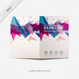 Modern business bi-fold flyer with abstract shapes