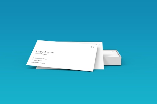 Modern business card mockup with box