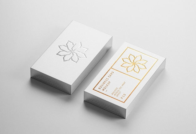 Modern business card mockup with gold and silver letterpress effect