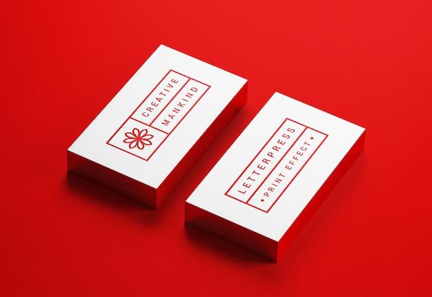 Modern business card mockup with letterpress effect