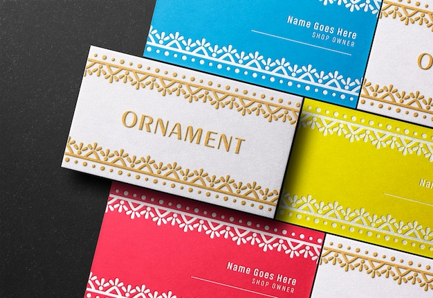 Modern business card mockup with letterpress and emboss effect