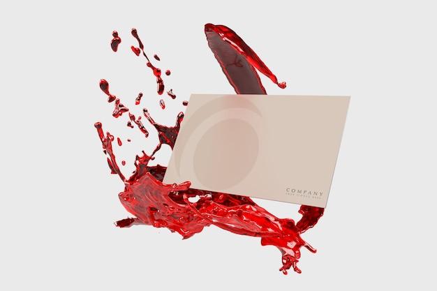 赤い液体でモダンな名刺モックアップ