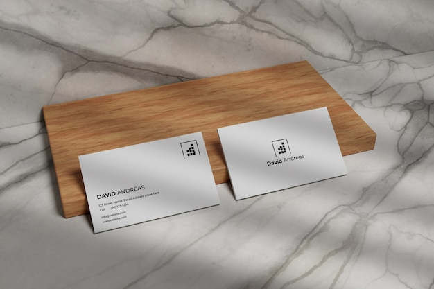 Modern business card mockup on wood
