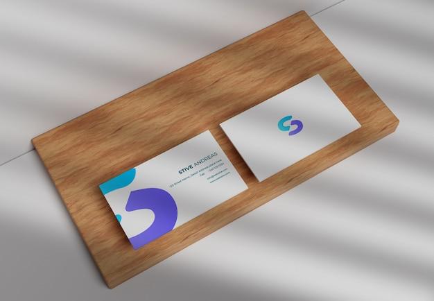 Modern business card mockup on wood
