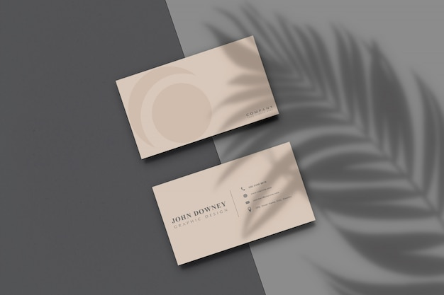 Modern business card paper mockup with shadow overlay .template for branding identity