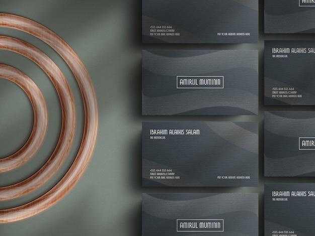 그림자 오버레이 템플릿이 있는 현대적인 명함 종이 모형