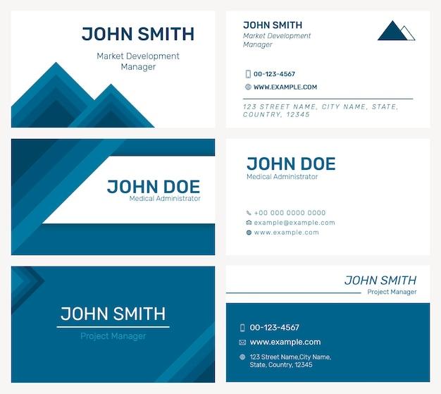 네이비 블루 컬렉션의 현대 명함 템플릿 psd