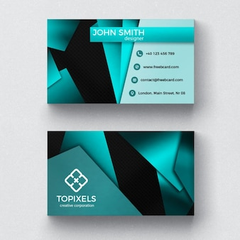 Modern business card with 3d shapes