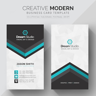 Modern business card with turquoise details