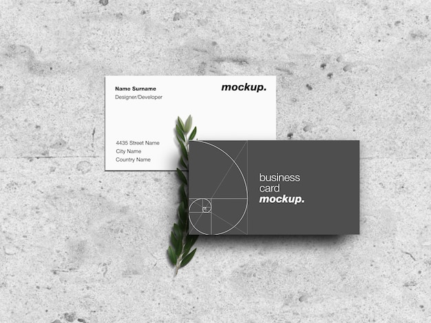 Modern business cards on grunge concrete with green branch mockup template