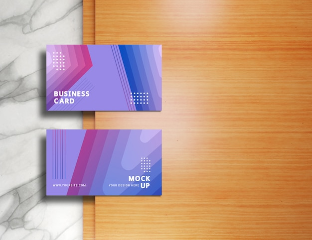 Modern business cards mockup on marble and wooden surfaces