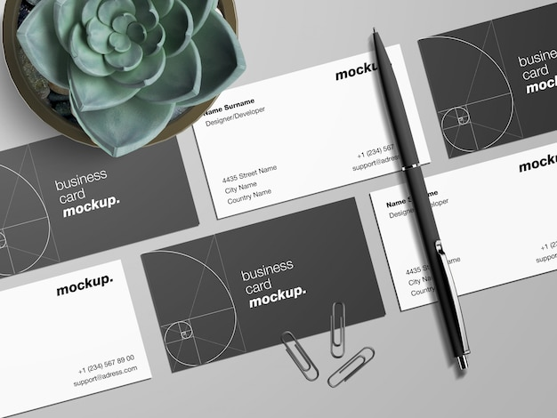 Modern business cards with pen and paper clips and sukulent plant mockup template