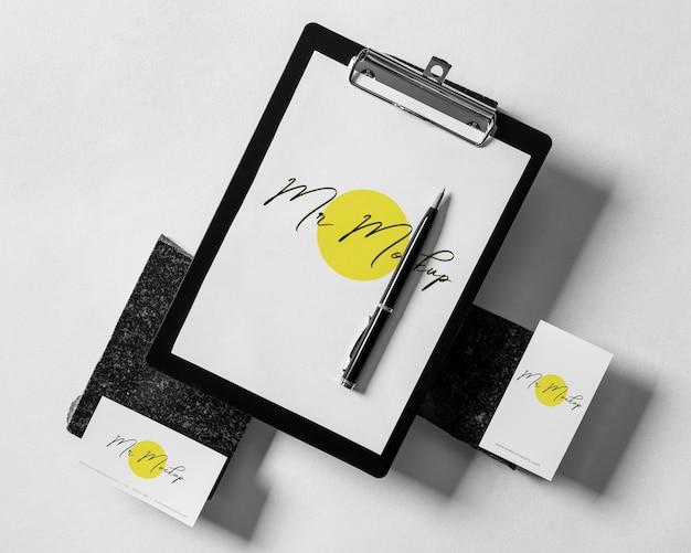 Modern business clipboard mock-up arrangement