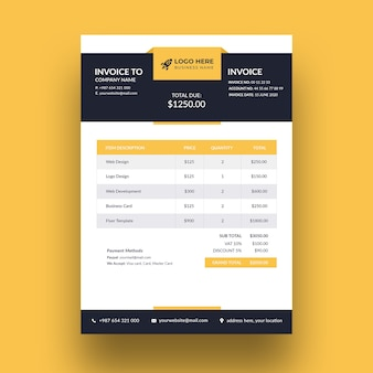 Modern business invoice template design