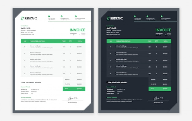 Modern business invoice template with dark and light variation