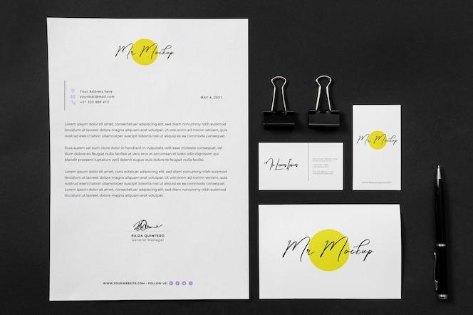 Modern business stationery mock-up arrangement