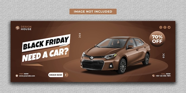 Современный прокат автомобилей черная пятница в социальных сетях и шаблон обложки facebook