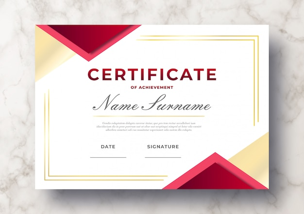 Modern certificate of achievement psd template