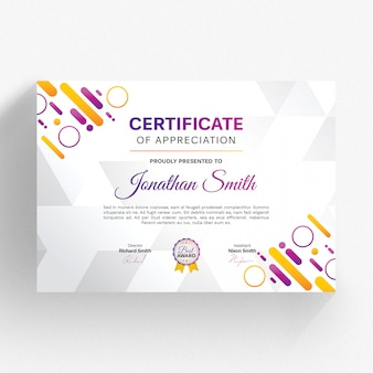 Modern certificate template with colorful details