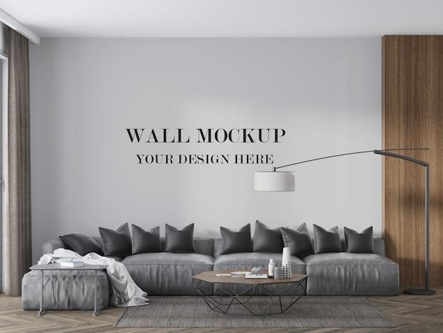 モダンでシックなリビングルームの壁のモックアップ