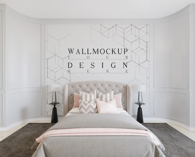 Modern classic bedroom design with mockup wall