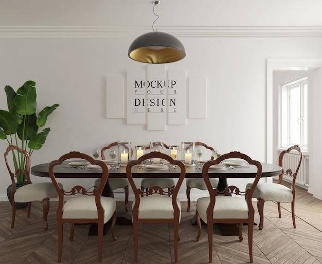 포스터 모형이있는 현대 클래식 식당