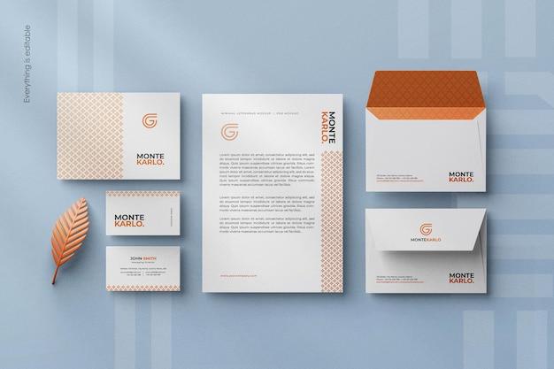Modern clean minimal corporate stationary branding identity mockup scene creator