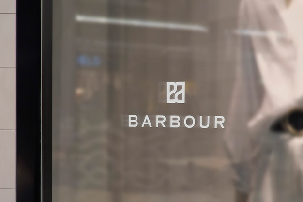 Modern clothing window sign logo mockup